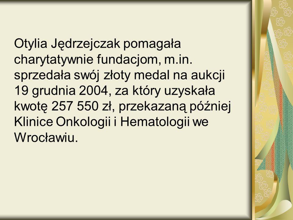 Otylia Jędrzejczak pomagała charytatywnie fundacjom, m. in