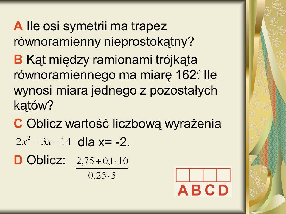 A Ile osi symetrii ma trapez równoramienny nieprostokątny