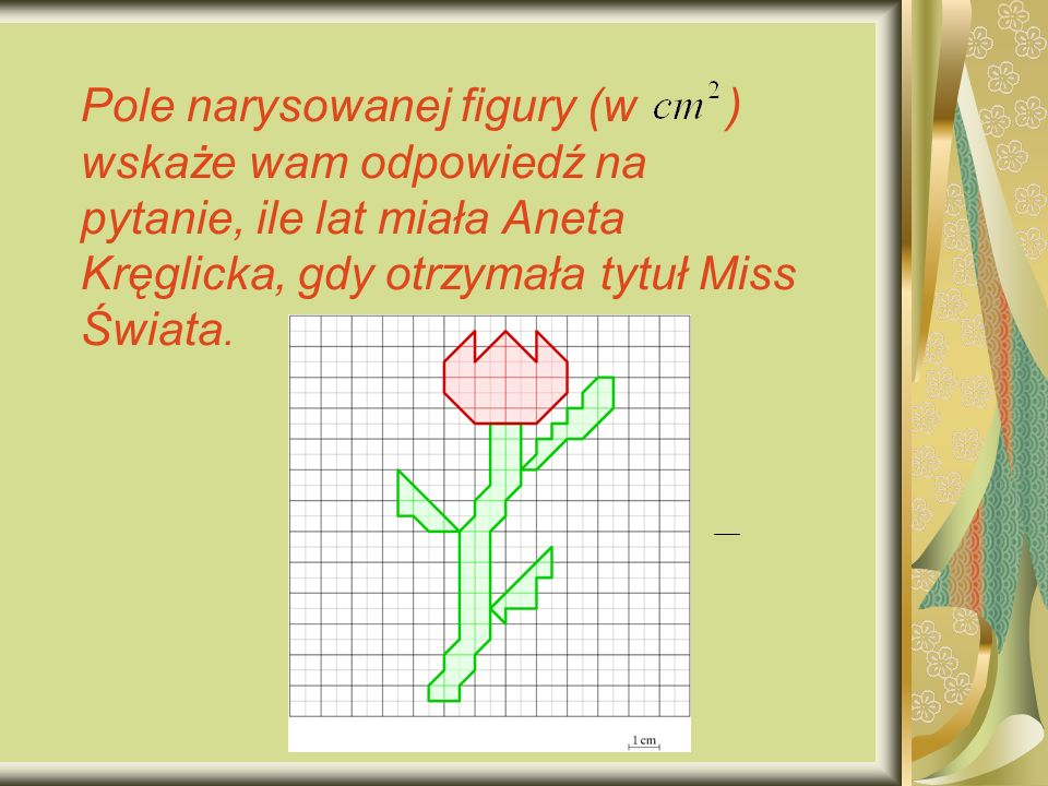 Pole narysowanej figury (w ) wskaże wam odpowiedź na pytanie, ile lat miała Aneta Kręglicka, gdy otrzymała tytuł Miss Świata.