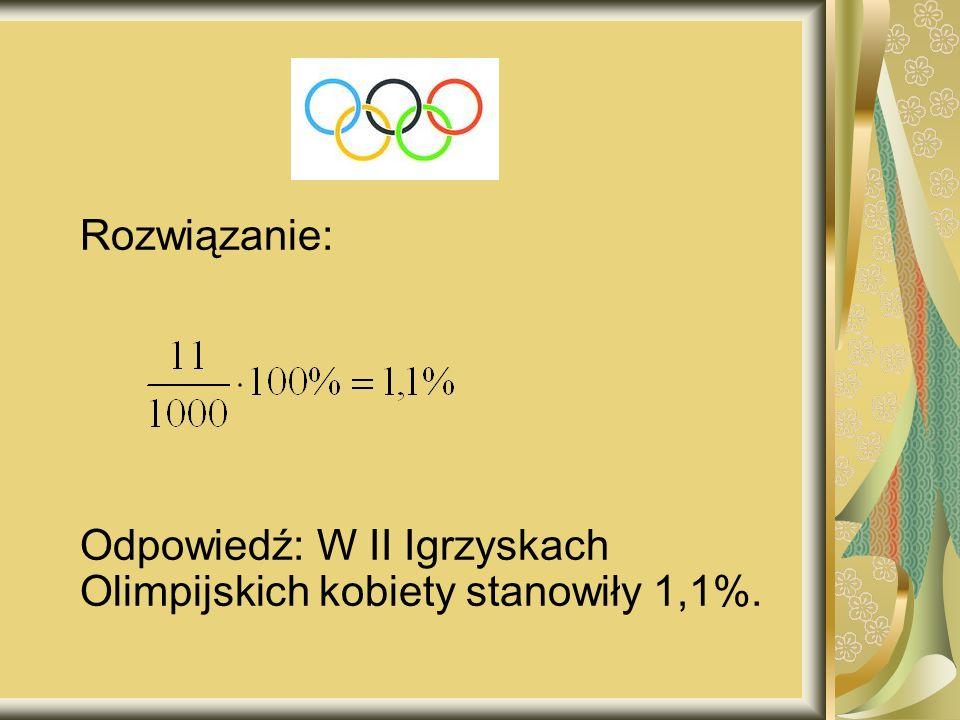 Rozwiązanie: Odpowiedź: W II Igrzyskach Olimpijskich kobiety stanowiły 1,1%.