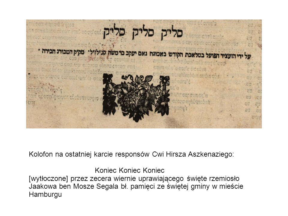 Kolofon na ostatniej karcie responsów Cwi Hirsza Aszkenaziego: