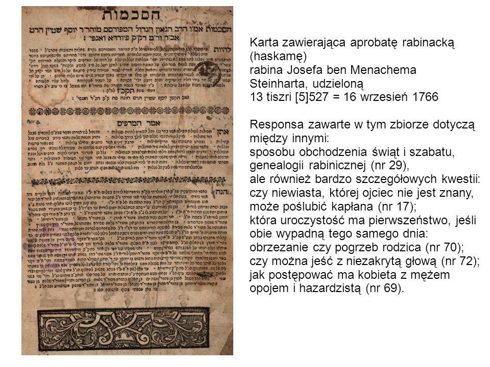 Karta zawierająca aprobatę rabinacką (haskamę)