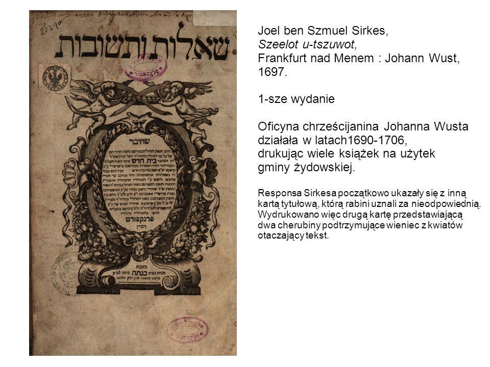Frankfurt nad Menem : Johann Wust, 1697. 1-sze wydanie