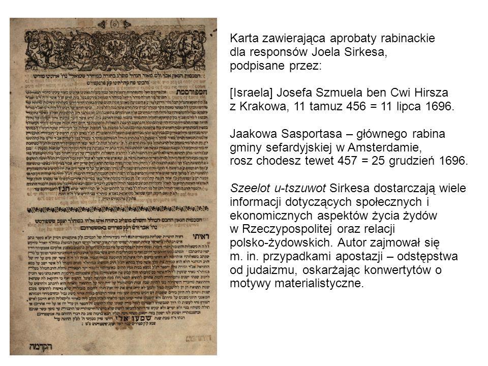 Karta zawierająca aprobaty rabinackie