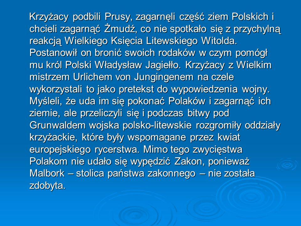 Krzyżacy podbili Prusy, zagarnęli część ziem Polskich i chcieli zagarnąć Żmudź, co nie spotkało się z przychylną reakcją Wielkiego Księcia Litewskiego Witolda.