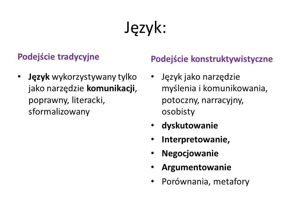 Język: Podejście konstruktywistyczne Podejście tradycyjne