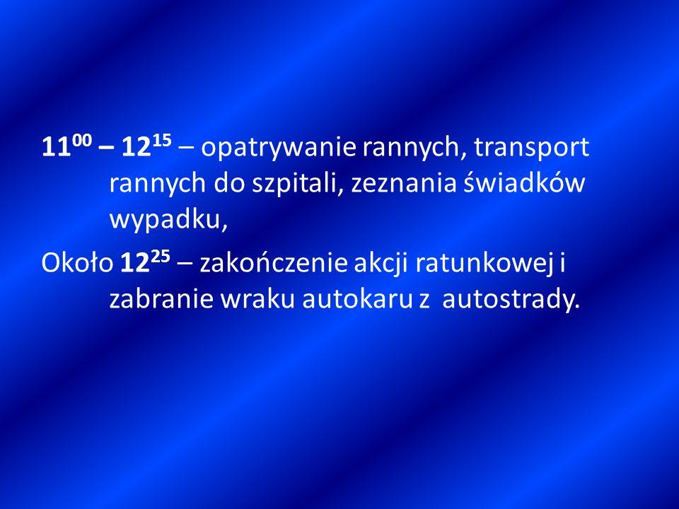 1100 – 1215 – opatrywanie rannych, transport rannych do szpitali, zeznania świadków wypadku, Około 1225 – zakończenie akcji ratunkowej i zabranie wraku autokaru z autostrady.