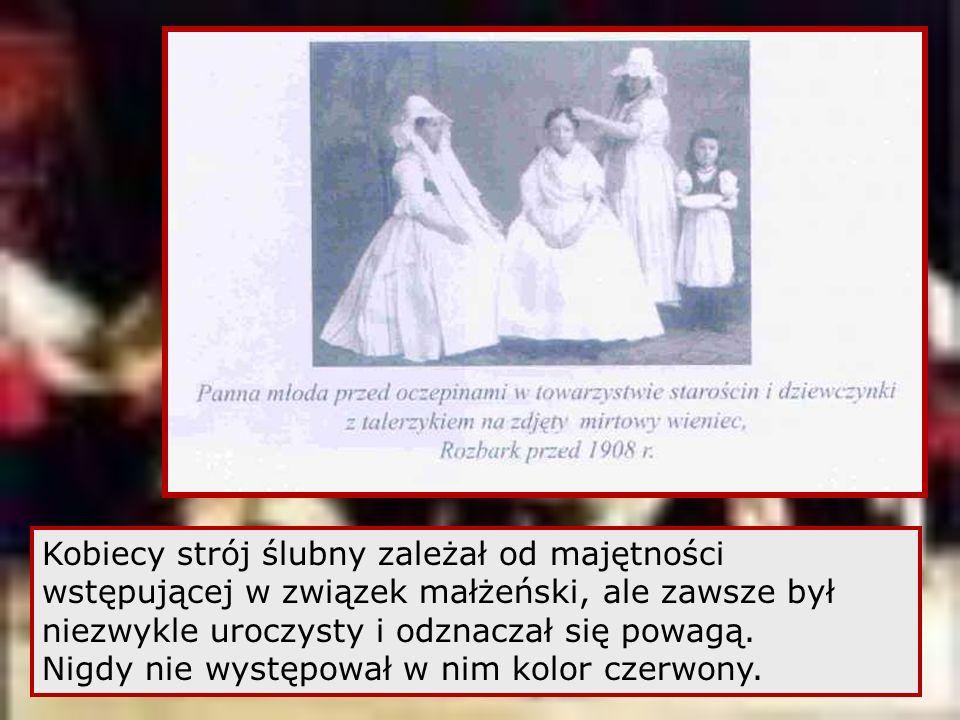 Kobiecy strój ślubny zależał od majętności wstępującej w związek małżeński, ale zawsze był niezwykle uroczysty i odznaczał się powagą.