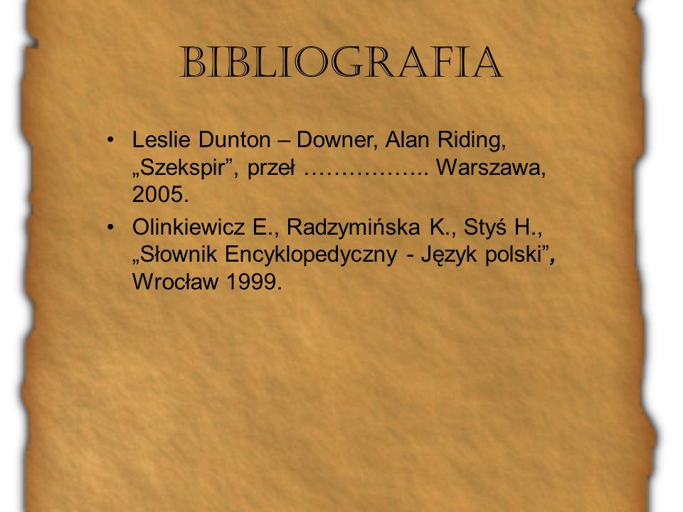 "Bibliografia Leslie Dunton – Downer, Alan Riding, ""Szekspir , przeł …………….. Warszawa, 2005."