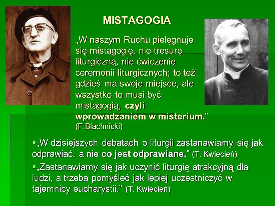 """MISTAGOGIA """"W naszym Ruchu pielęgnuje się mistagogię, nie tresurę liturgiczną, nie ćwiczenie ceremonii liturgicznych; to też gdzieś ma swoje miejsce, ale wszystko to musi być mistagogią, czyli wprowadzaniem w misterium. (F.Blachnicki)"""