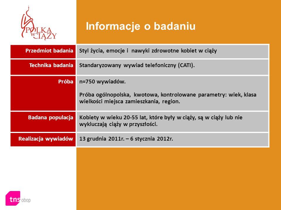 Informacje o badaniu Przedmiot badania