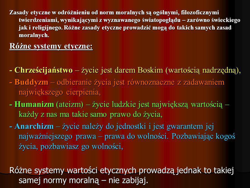 Różne systemy etyczne:
