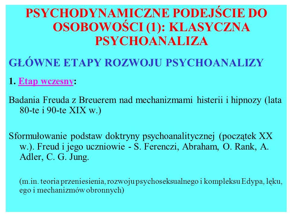 PSYCHODYNAMICZNE PODEJŚCIE DO OSOBOWOŚCI (1): KLASYCZNA PSYCHOANALIZA
