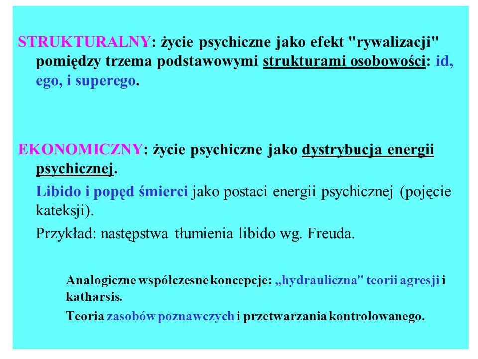 EKONOMICZNY: życie psychiczne jako dystrybucja energii psychicznej.