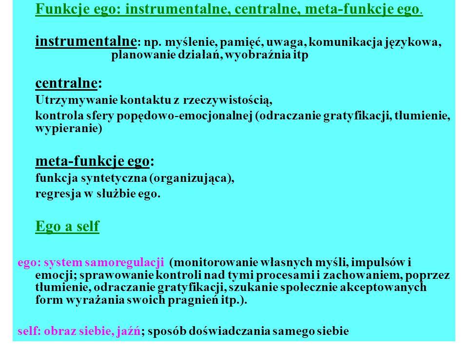 Funkcje ego: instrumentalne, centralne, meta-funkcje ego.