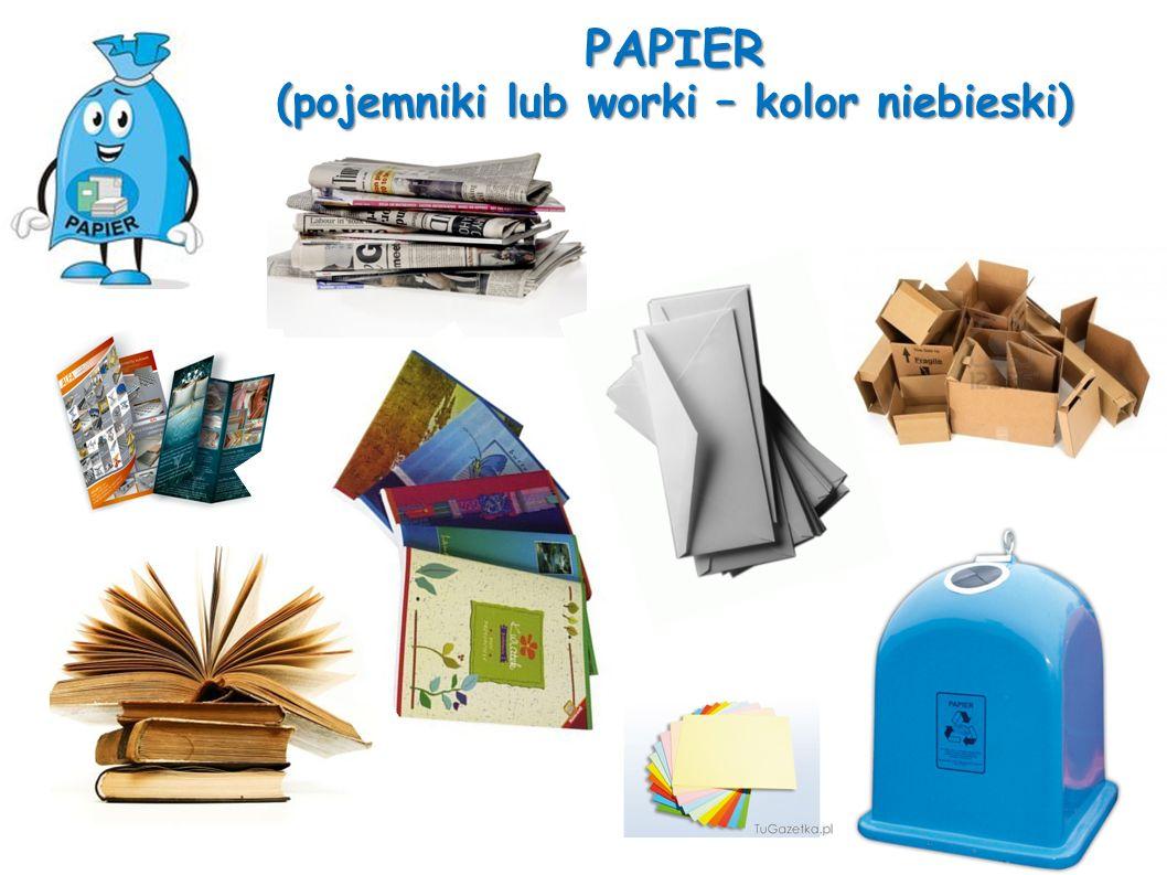 PAPIER (pojemniki lub worki – kolor niebieski)