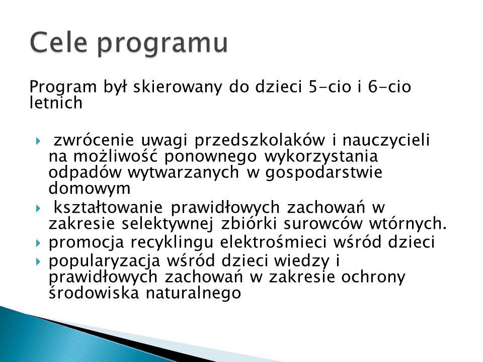 Cele programu Program był skierowany do dzieci 5-cio i 6-cio letnich