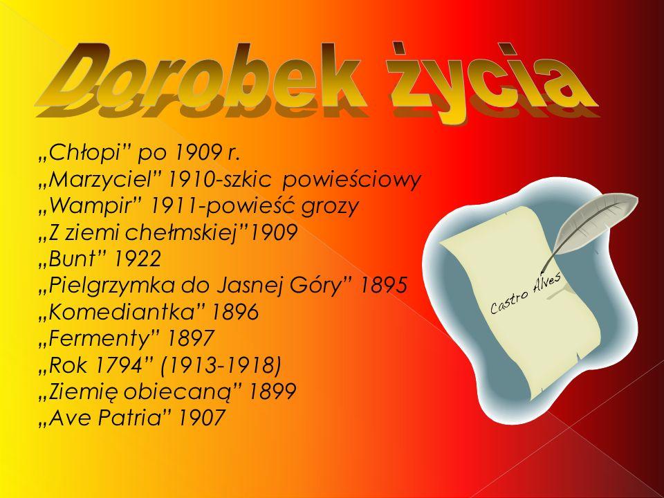 """Dorobek życia """"Chłopi po 1909 r. """"Marzyciel 1910-szkic powieściowy"""
