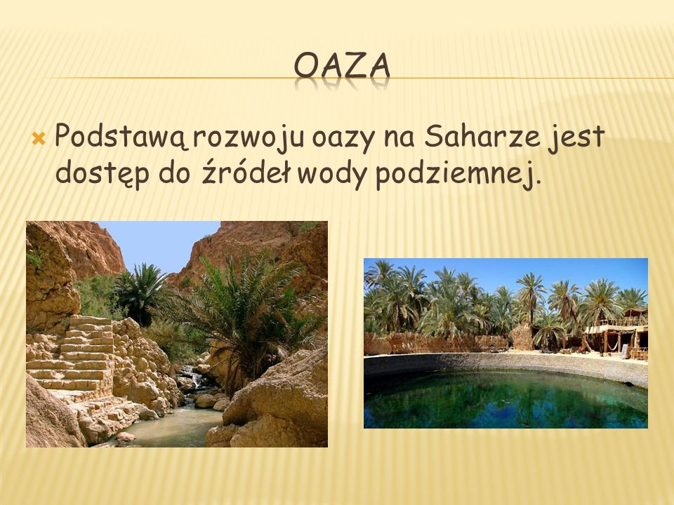 OAZA Podstawą rozwoju oazy na Saharze jest dostęp do źródeł wody podziemnej.