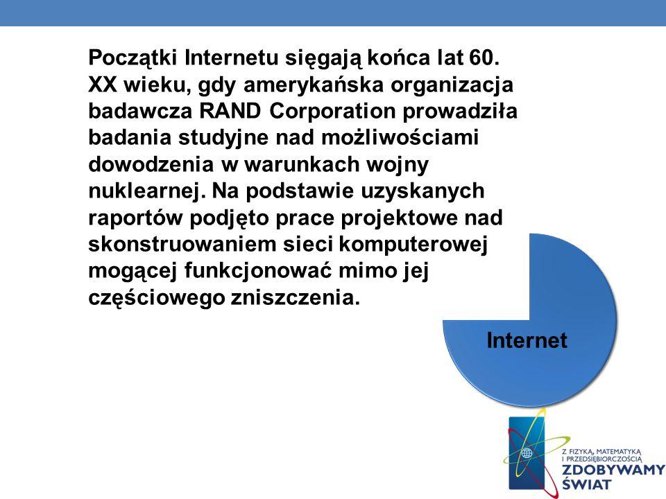 Początki Internetu sięgają końca lat 60