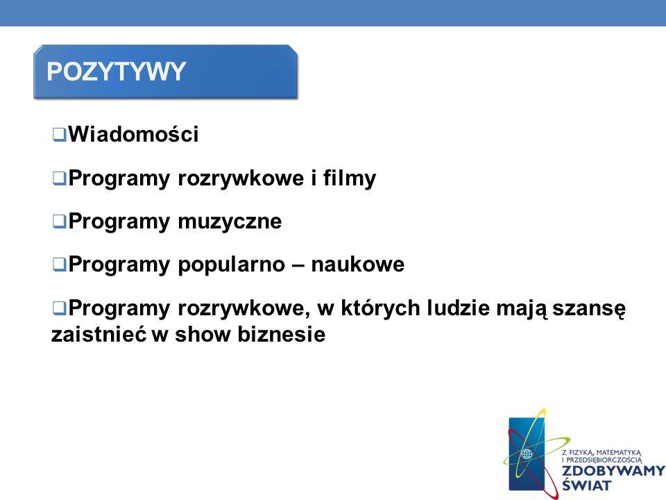 pozytywy Wiadomości Programy rozrywkowe i filmy Programy muzyczne
