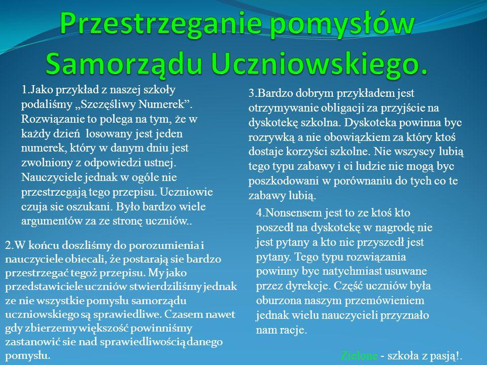Przestrzeganie pomysłów Samorządu Uczniowskiego.