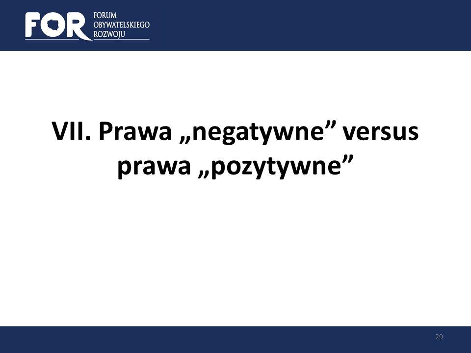 """VII. Prawa """"negatywne versus prawa """"pozytywne"""