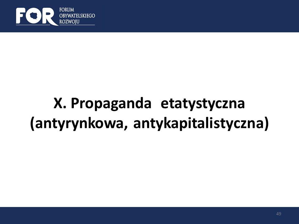 X. Propaganda etatystyczna (antyrynkowa, antykapitalistyczna)