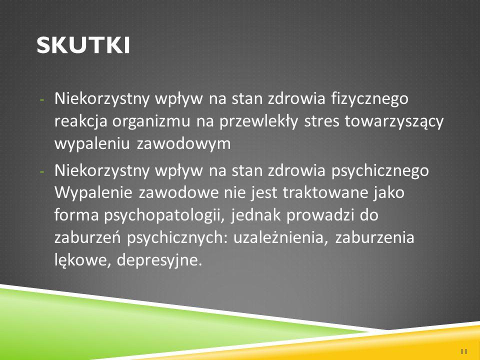 Skutki Niekorzystny wpływ na stan zdrowia fizycznego reakcja organizmu na przewlekły stres towarzyszący wypaleniu zawodowym.