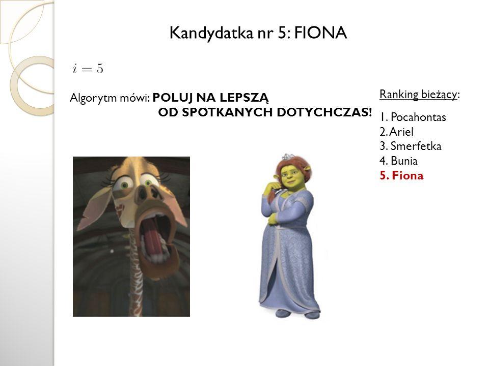 Kandydatka nr 5: FIONA Ranking bieżący: Algorytm mówi: POLUJ NA LEPSZĄ