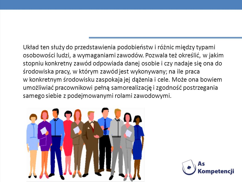 Układ ten służy do przedstawienia podobieństw i różnic między typami osobowości ludzi, a wymaganiami zawodów.