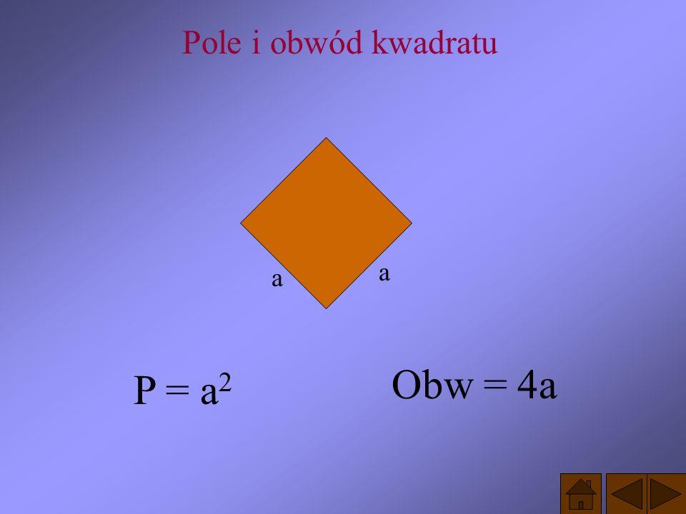 Pole i obwód kwadratu a a Obw = 4a P = a2