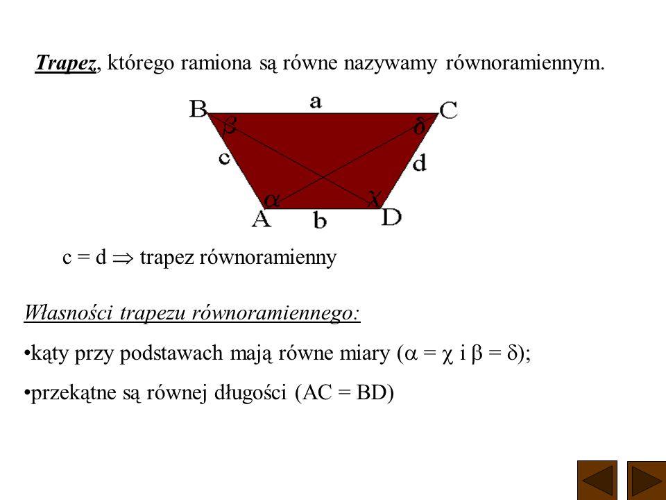 Trapez, którego ramiona są równe nazywamy równoramiennym.