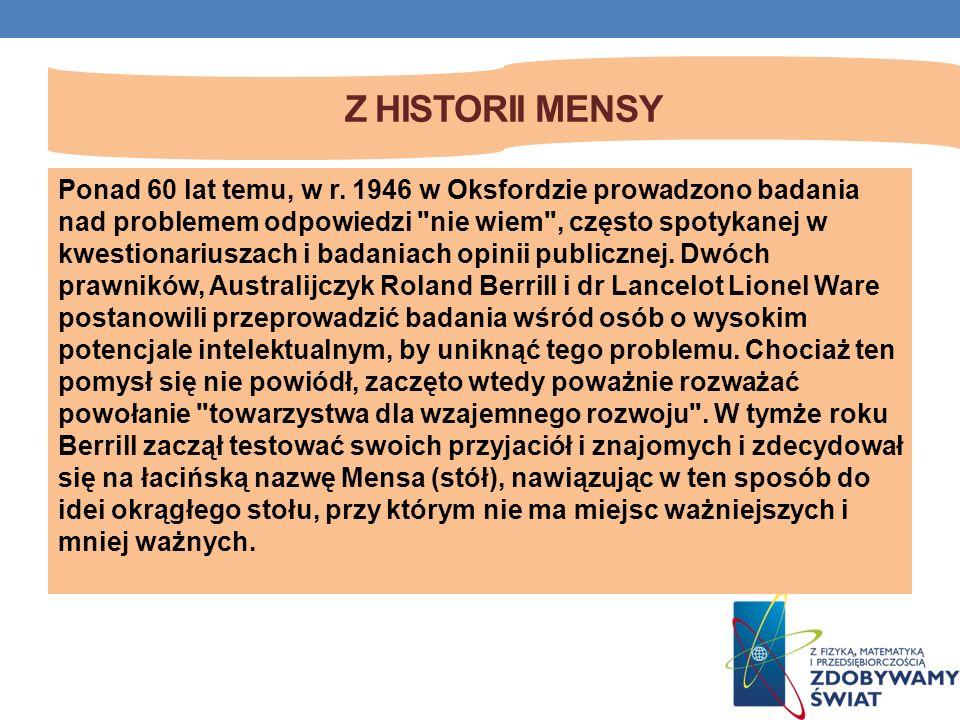 Z HISTORII MENSY