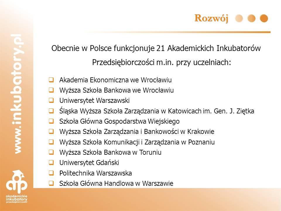 Rozwój Obecnie w Polsce funkcjonuje 21 Akademickich Inkubatorów Przedsiębiorczości m.in. przy uczelniach: