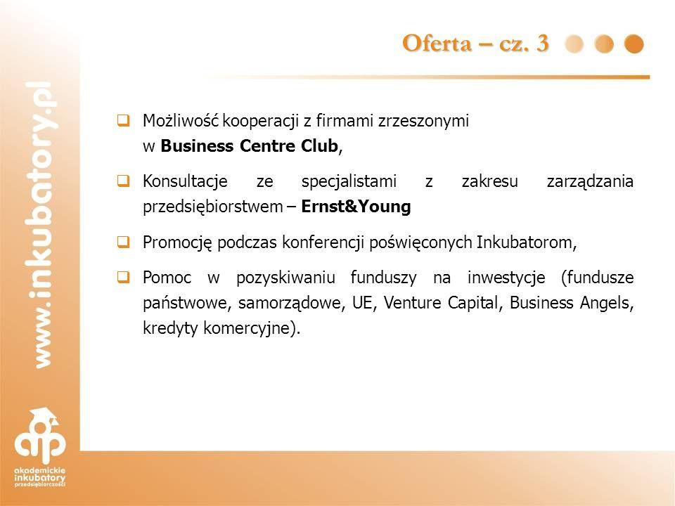 Oferta – cz. 3 Możliwość kooperacji z firmami zrzeszonymi w Business Centre Club,