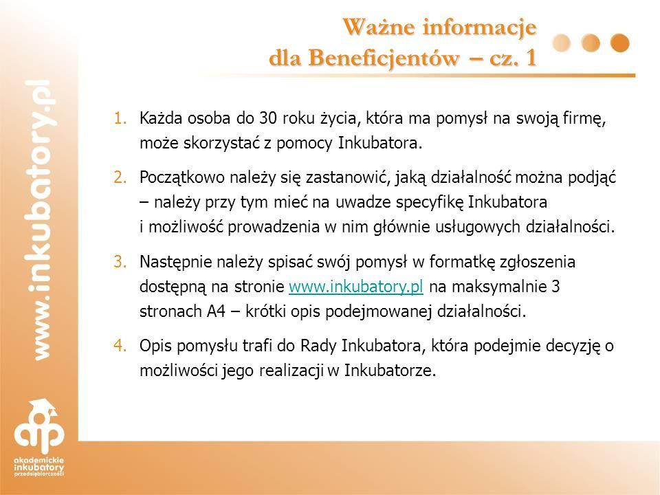 Ważne informacje dla Beneficjentów – cz. 1