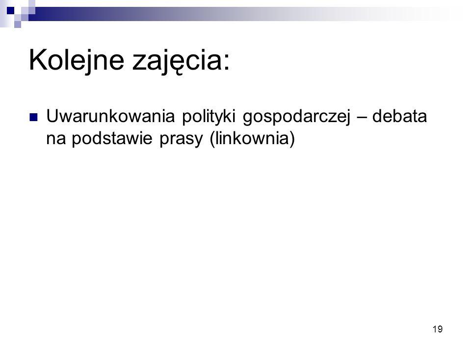 Kolejne zajęcia: Uwarunkowania polityki gospodarczej – debata na podstawie prasy (linkownia)