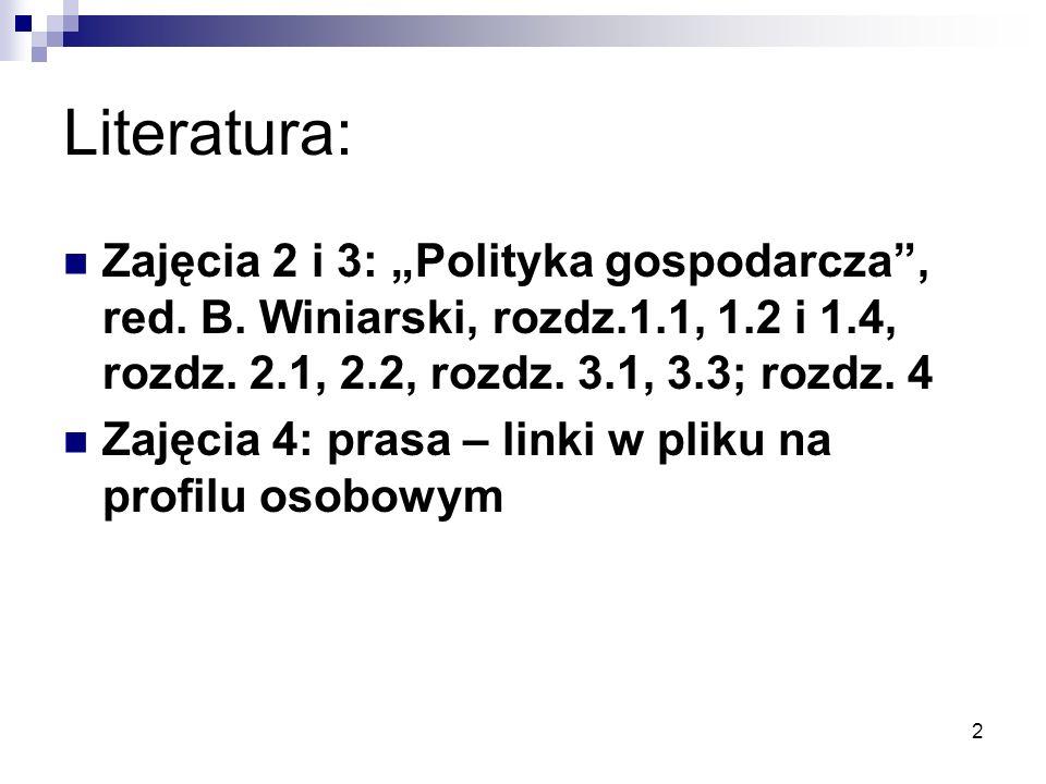 """Literatura: Zajęcia 2 i 3: """"Polityka gospodarcza , red. B. Winiarski, rozdz.1.1, 1.2 i 1.4, rozdz. 2.1, 2.2, rozdz. 3.1, 3.3; rozdz. 4."""