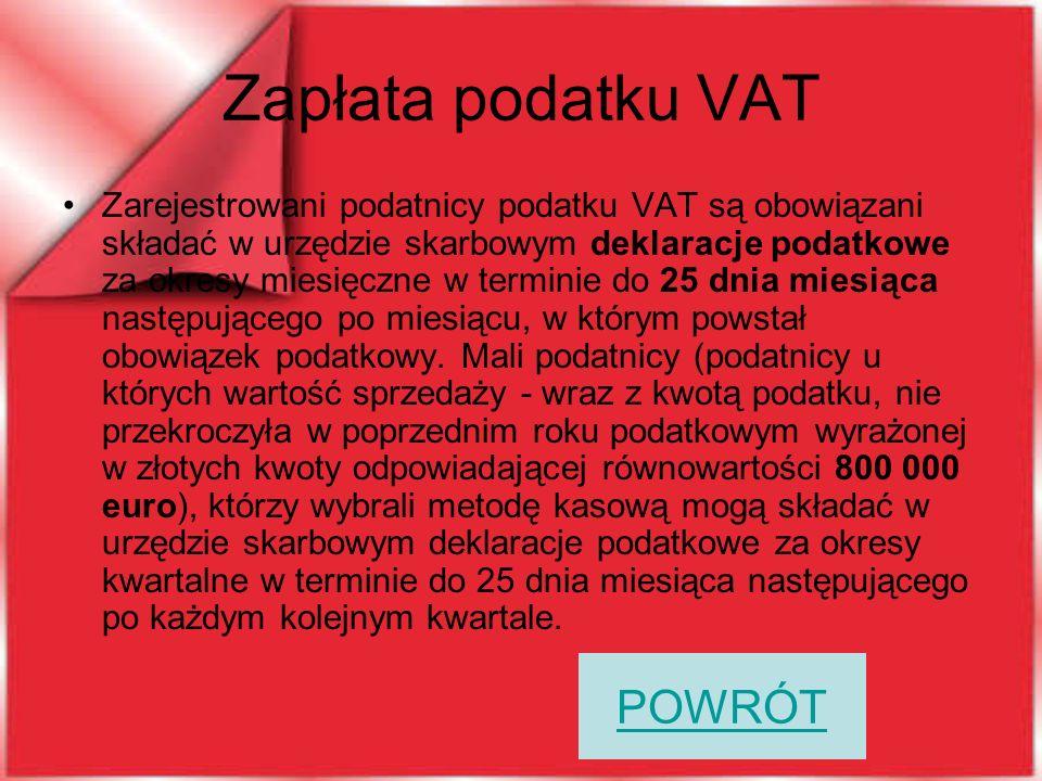 Zapłata podatku VAT POWRÓT