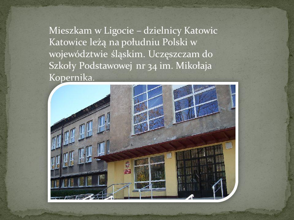 Mieszkam w Ligocie – dzielnicy Katowic Katowice leżą na południu Polski w województwie śląskim. Uczęszczam do