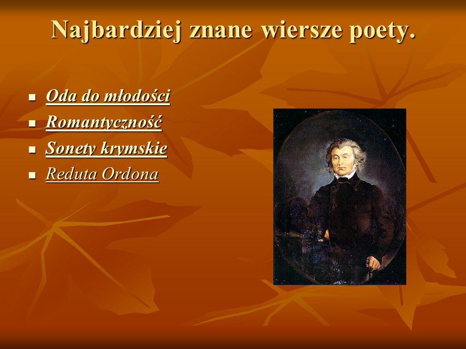 Najbardziej znane wiersze poety.