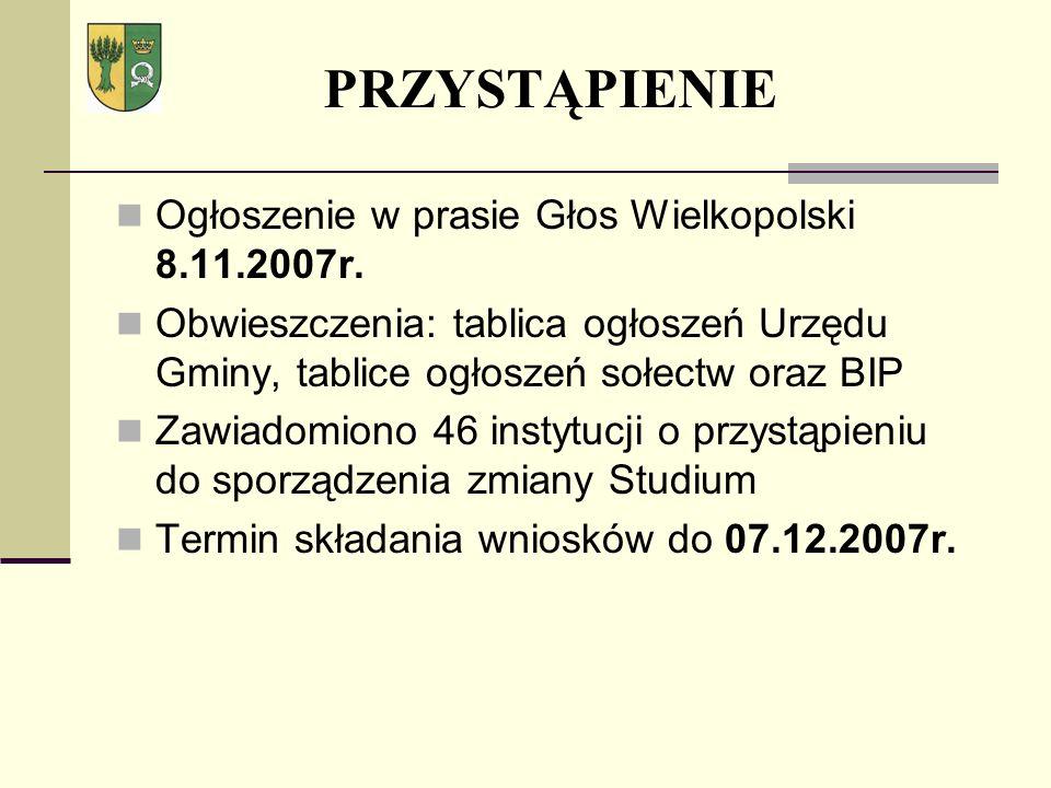PRZYSTĄPIENIE Ogłoszenie w prasie Głos Wielkopolski 8.11.2007r.