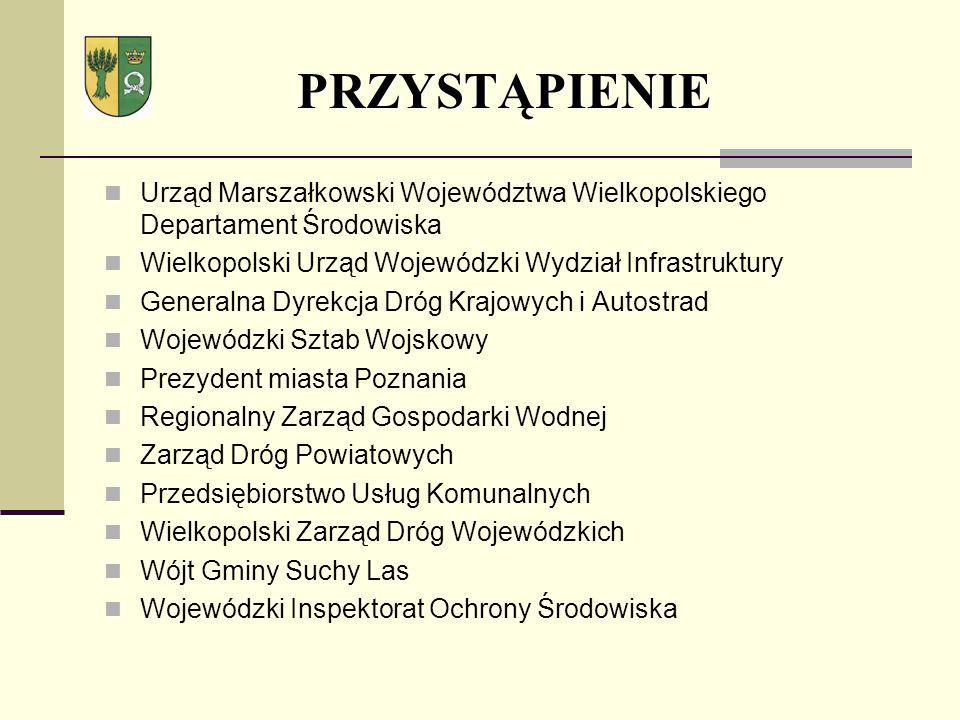 PRZYSTĄPIENIE Urząd Marszałkowski Województwa Wielkopolskiego Departament Środowiska. Wielkopolski Urząd Wojewódzki Wydział Infrastruktury.