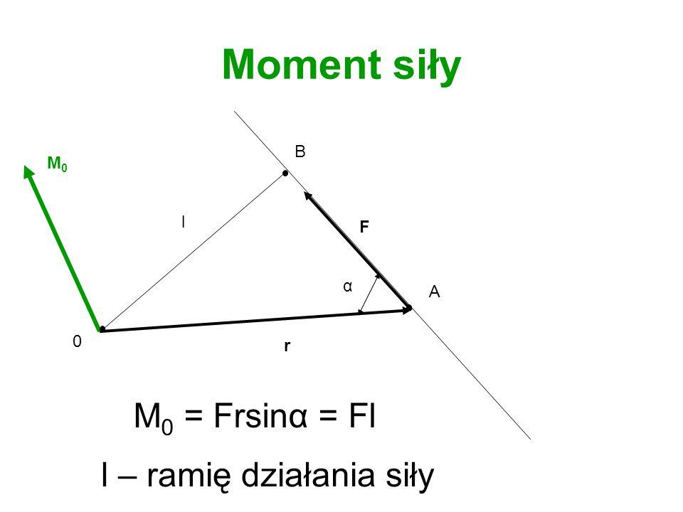 Moment siły B M0 l F α A r M0 = Frsinα = Fl l – ramię działania siły