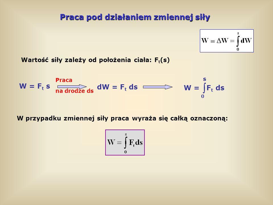  Praca pod działaniem zmiennej siły W = Ft s dW = Ft ds W = Ft ds