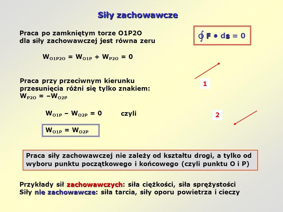  Siły zachowawcze F • ds = 0 Praca po zamkniętym torze O1P2O