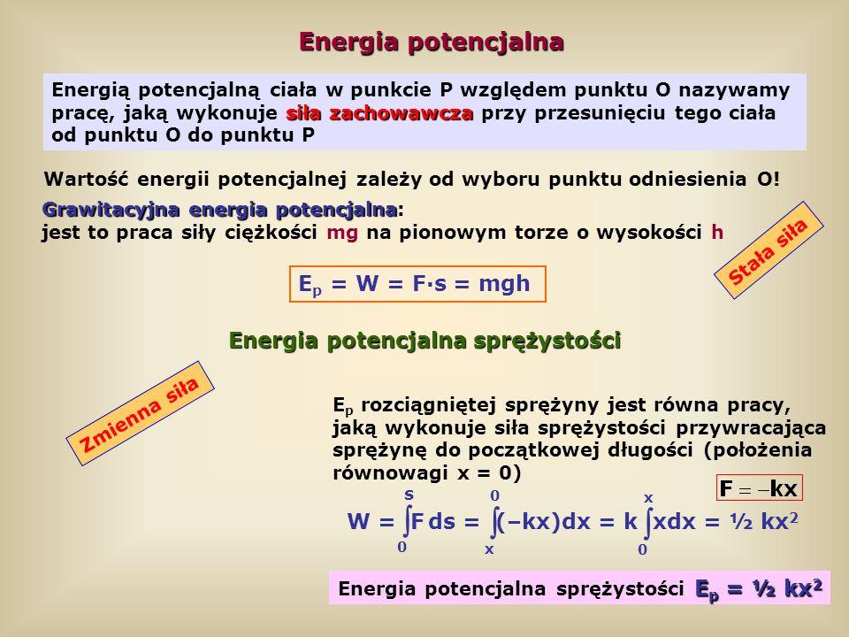    Energia potencjalna Ep = W = F·s = mgh