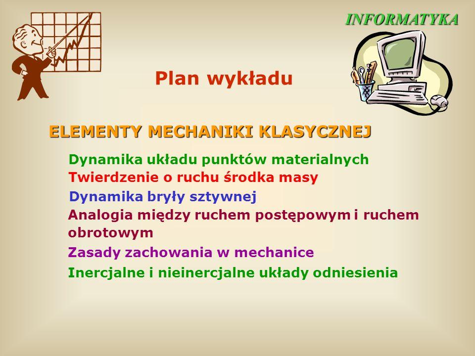 Plan wykładu INFORMATYKA ELEMENTY MECHANIKI KLASYCZNEJ