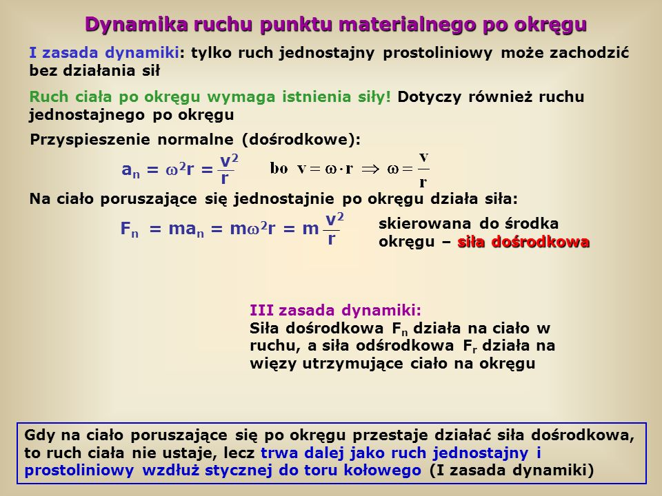 Dynamika ruchu punktu materialnego po okręgu